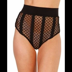 iHeartRaves Fishnet High Waist Thong Booty Shorts